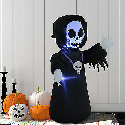 4Ft Inflatable Halloween Skeleton Ghost Led Light Airblown Yard Decor Decoration