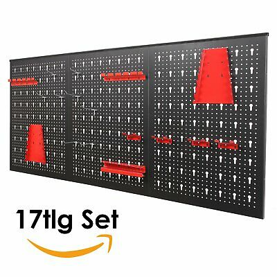 17 Piece Pegboard Shelf Wall Mounted Panel Set Tool Storage Workshop Organizer
