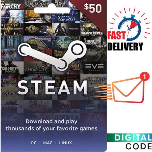 Steam Game Card 50 Dollar - $50 Steam Gift Card Digital Key - ONLY Currency USD