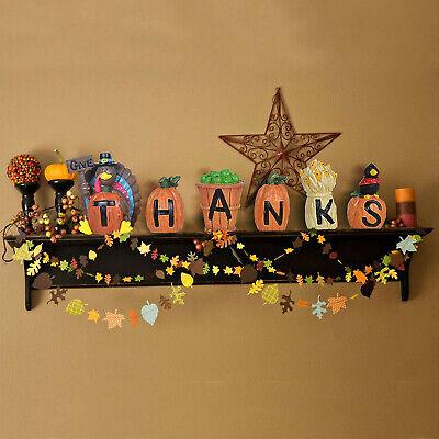 6PCs GiveThanks Thanksgiving Home Decoration Blocks Turkey Signs Figurine Hand-