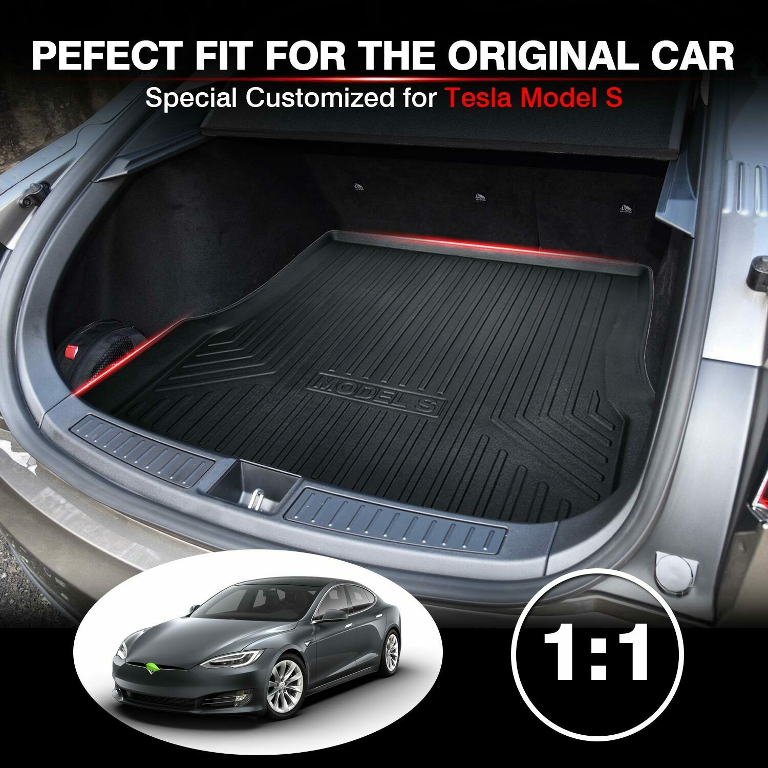 2017 Tailored Fit Rubber Boot Liner Protector Mat for Tesla Model S liftback under hood space,HromTech