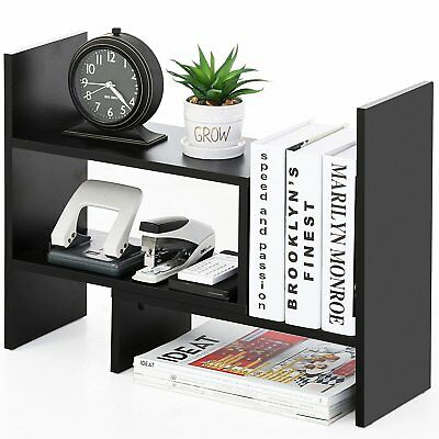 Height Adjustable Table Top Organizer Book Shelf File Sorter Office Desk Stand
