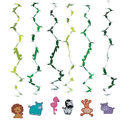 12 Zoo Safari Party Decoration Hanging Animal Swirls](Safari Animal Decorations)