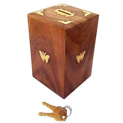 Wooden Saving Boxes Money Banks Square Treasure Chest Dual Tone Piggy Bank (Wooden Piggy Banks)