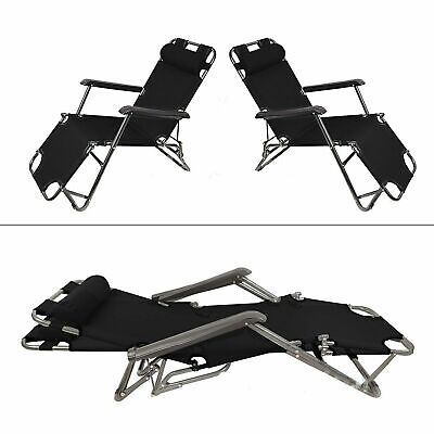 2pc Black Garden Sun Loungers Folding Outdoor Sun Bed Recliner Seat Garden Chair ()