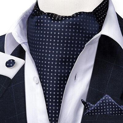 USA Mens Silk Ascot Cravat Tie Polka Dots Jacquard Woven Hanky Cufflinks Set Dotted Mens Tie