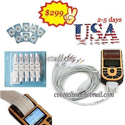 Ecg80a Portable Hand-held Single Channel Ecg Ekg Machine Usb Softwareusa Fedex