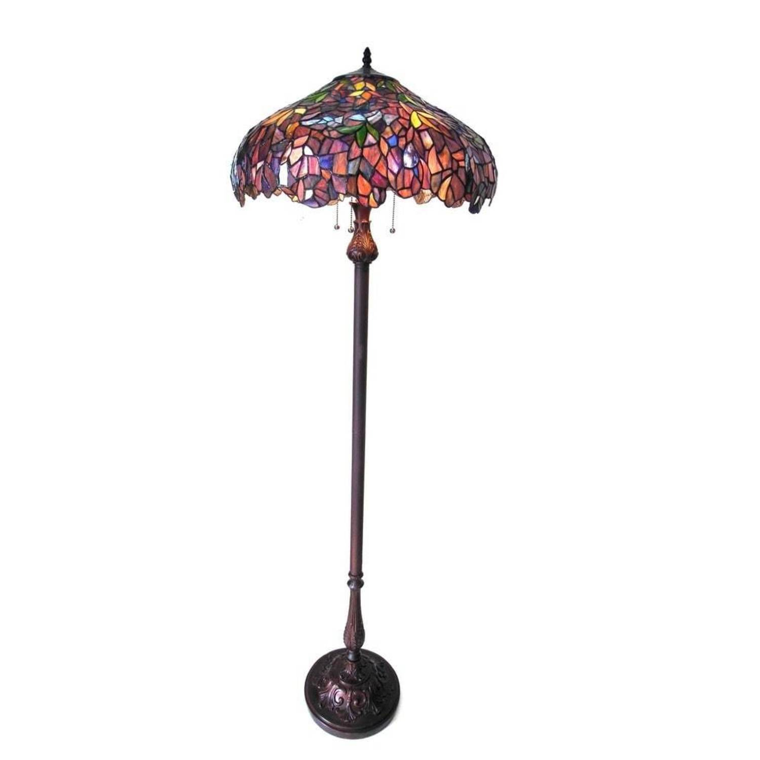 Floor Lamp Tiffany Style Purple Brown Green Floral Shade 3 L