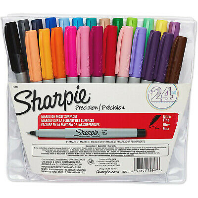 Sharpie Permanent Markers Ultra Fine Point Assorted Colors 24-count