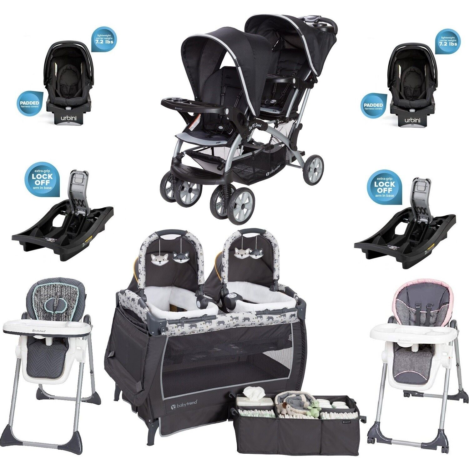 Twins Boy Girl Combo Set Baby Stroller 2 Car Seats Bases 2 C