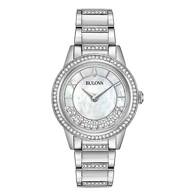 Bulova Women's 96L257 TurnStyle Crystal Accent Silver-Tone Bracelet 32.5mm Watch