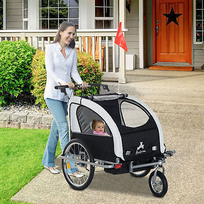3in1 Double Child Baby Bike Bicycle Trailer Stroller Jogger - Black/White