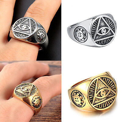 Mendino Mens Stainless Steel Ring Illuminati The All Seeing Eye Pyramid Symbol
