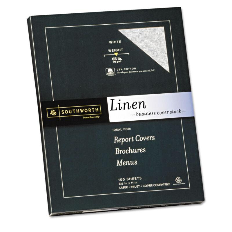 Southworth 25% Cotton Linen Business Coverstock White 65 lbs 8-1/2 x 11 100/Box