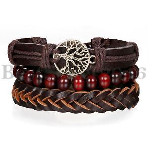 3pcs Tree of Life Leather Braided Tribal Wood Bracelet for Men Women Wristband