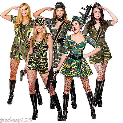 Army Military Womens Sexy Fancy Dress Costume Solider Camouflage Ladies Outfit ](Military Womens Costume)