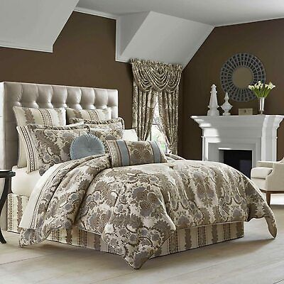 6 PC J. Queen CRYSTAL PALACE Queen Comforter Set NEW Euros Taupe Slate Blue