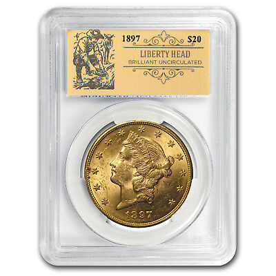 20 Liberty Head Double Eagle Bu Pcgs  Random  Prospector Label    Sku 153582