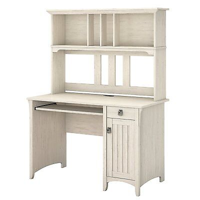 Bush Industries My72208 03 Salinas Computer Desk With Hutch In Antique White New
