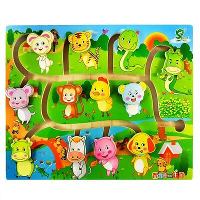 (Animal Labyrinth Puzzle Wooden Body Match Maze For Kids Children Educational Toy)