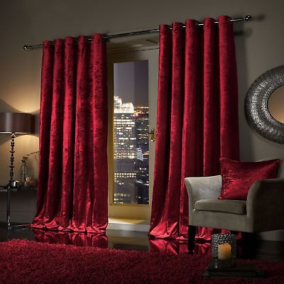 RED Plush Crushed Velour Faux Velvet Pencil Pleat / Eyelet Ring Top Curtains  ()