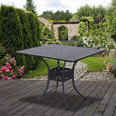 Outsunny Patio Outdoor Square Cast Aluminum Outdoor Dining Table - Black Dining Table Outdoor Aluminum Patio