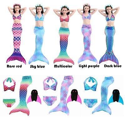 Kids Mädchen Swimmable Meerjungfrau-Schwanz zum Schwimmen Kostüm mit Monoflosse