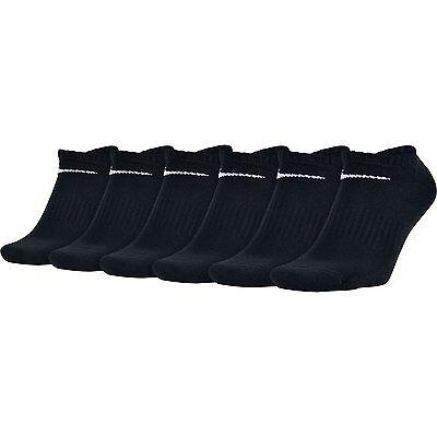 $42 NIKE Mens 6 PAIRS PACK Athletic NO SHOW SOCKS Black Cushion Cotton SHOE 8-12