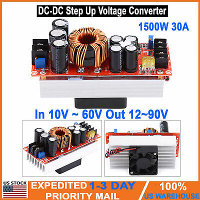 1500w 30a Dc-dc Boost Converter 10-60v To 12-90v Step Up Power Supply Module Usa