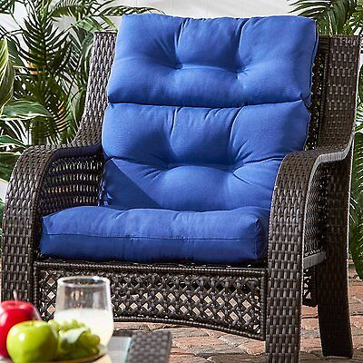 "Patio Chair Cushion Set Of 2 Wicker Furniture Outdoor High Back Deep Seat 44""x22"