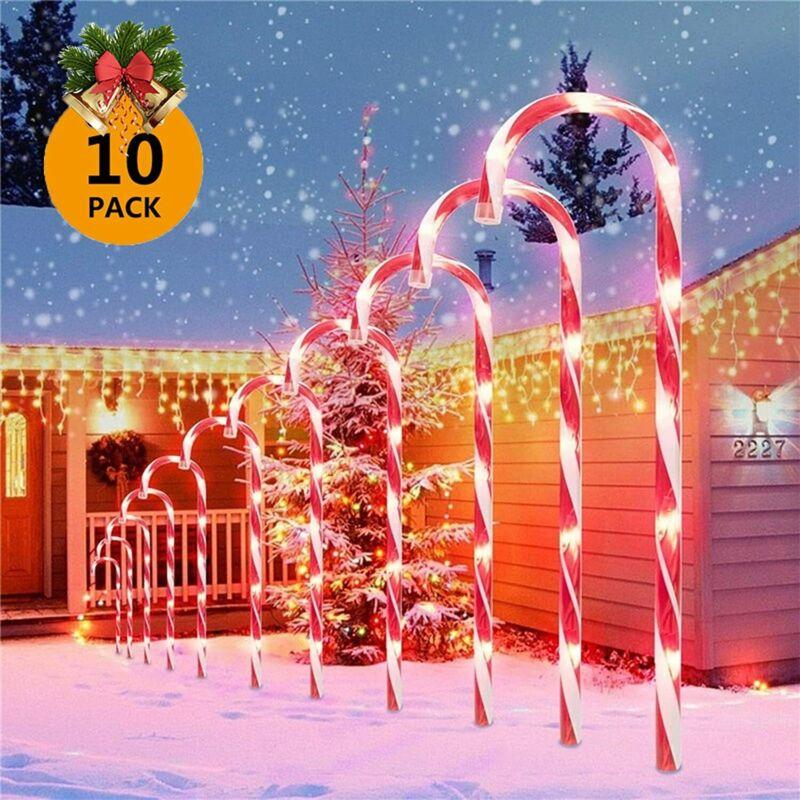 10PCS Candy Cane Solar Power Christmas Light Outdoor Home Christmas Tree Decor