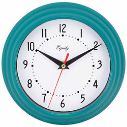 25020 Equity by La Crosse 8 Plastic Analog Wall Clock - Teal