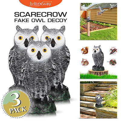 3 Pack Ultimate Scarecrow Owl Decoy Statue Fake Owl Outdoor Bird Deterrent