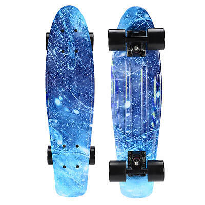 22 Cruiser Skateboard Penny Style Board Graphic Blue Galaxy Space Free Shipping