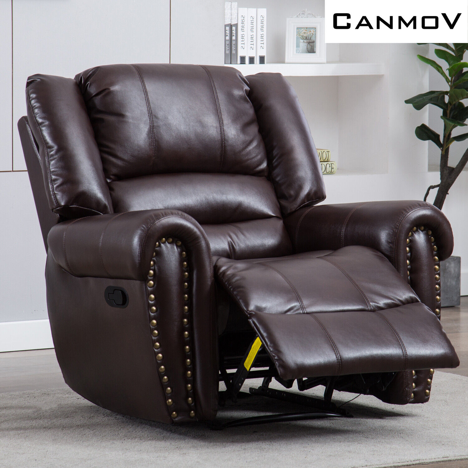 Brown Faux Leather Manual Recliner Chair Overstuffed Backres
