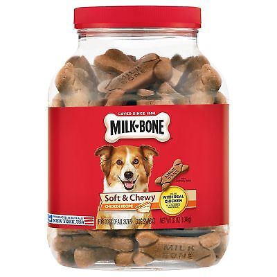 (TWO) MILK BONE SOFT & CHEWY CHICKEN DOG TREATS 37 OUNCES 15 VITAMINS/MINERALS