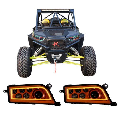 2PCS CREE Halo Chasing Color RGB LED Headlights For POLARIS RZR XP 900 1000 ATV