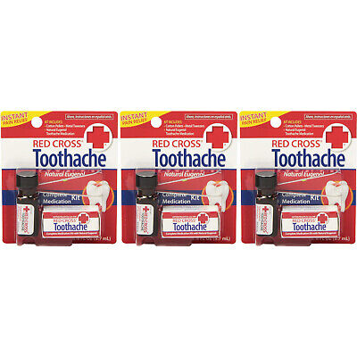 3 Pack - Red Cross Toothache Complete Medication Kit 0.12oz Each