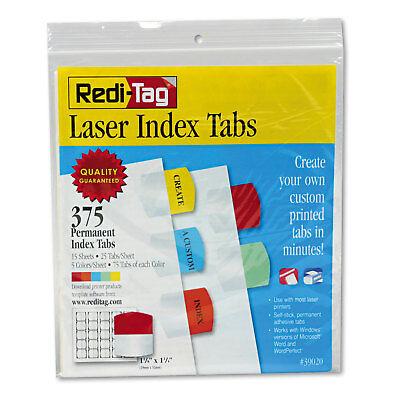 Redi-Tag Laser Printable Index Tabs 1 1/8 x 1 1/4 5 Colors 375/Pack 39020