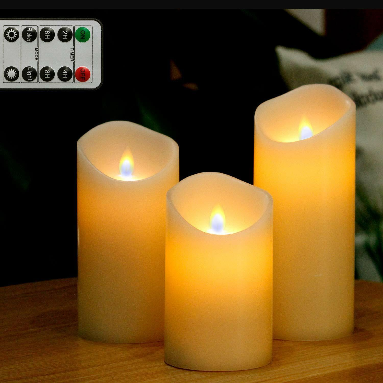 Flameless Pillar Candles Battery Operated Real Wax with Remo