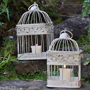 Set of 2 - Gardensity Outdoor Garden White Shabby-Chic Rustic Square Bird Cage