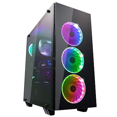 FSP ATX Mid Tower PC Computer Gaming Case with 3 Translucent Tempered Glass