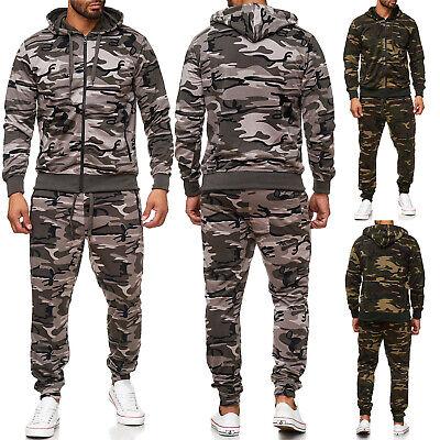 Herren Jogginganzug Camouflage Set Hoodie Zip Jogginghose Fitnessanzug Sport Neu Zip-hoodie Hose