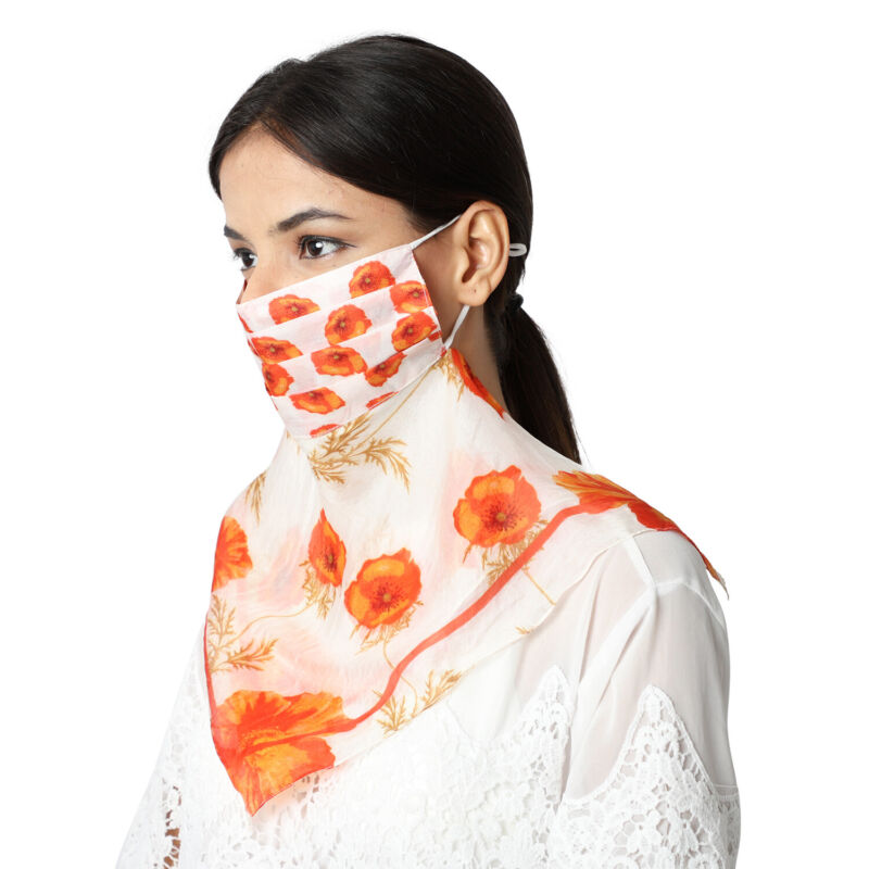 Mulberry Silk 2 in 1 Poppy Flower Soft Scarf Protective Face Mask Ivory Orange