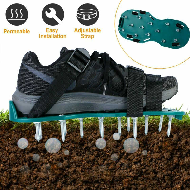 1 Pair Lawn Yard Grass Aerator Shoes With Metal Spikes Sandals Adjustable Straps