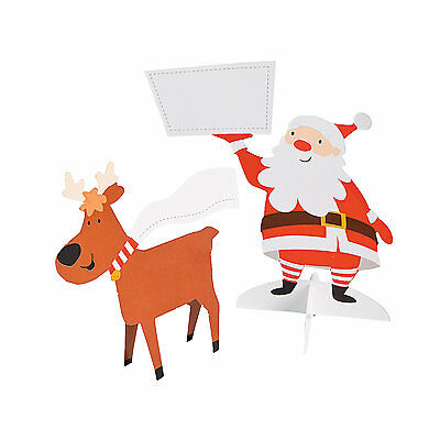 Party Table Name Cards (12 CHRISTMAS Party Table Setting Name Santa & Reindeer Place)