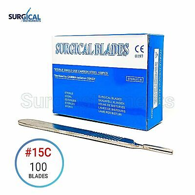 100 Scalpel Blades 15c Surgical Dental Ent Instruments With Free 3 Handle