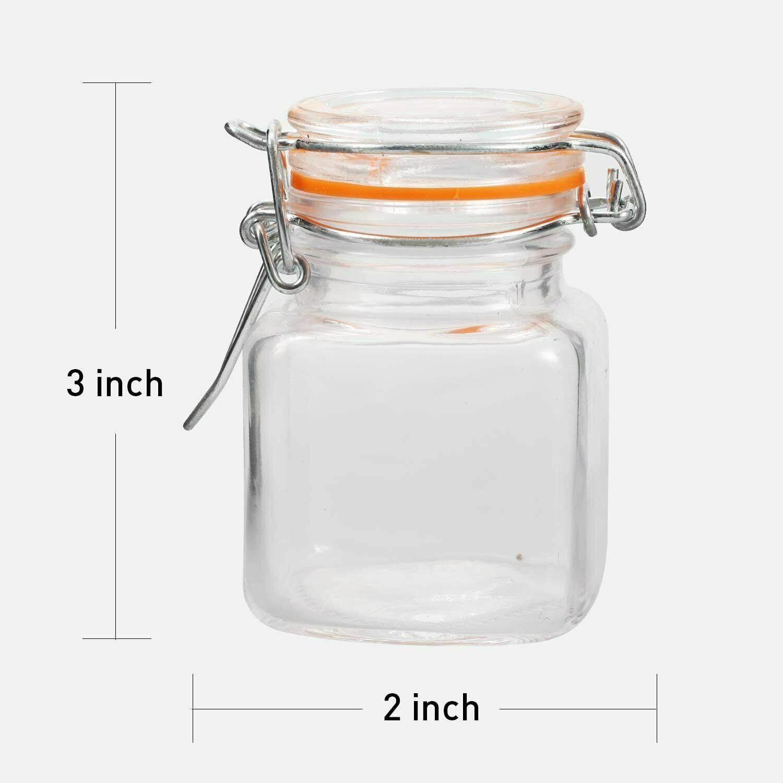 4 oz Glass Jar Hinged Airtight Lid Leak Proof Rubber Gasket