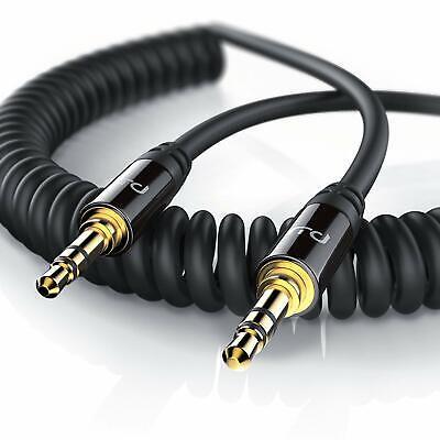 Primewire Audiokabel 3,5mm Stecker Stecker 2m 2 Meter Spiralkabel schwarz ()