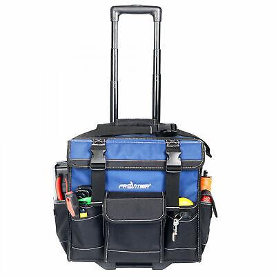 HEAVY DUTY Rolling Construction Tool Bag Tote W Pop Up Handle Wheels Big Best